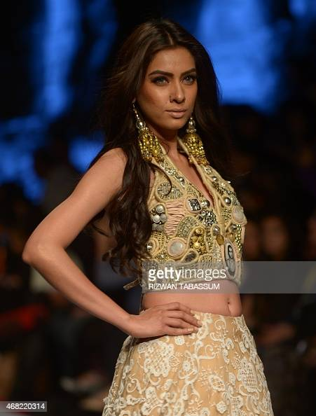 A Model Presents On March 31 2015 A Creation By Designer Sania Maskatiya At The Fashion