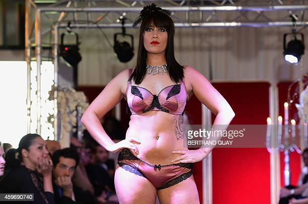 A model presents plussize lingerie during the Pulp fashion show in Paris on November 28 2014 AFP PHOTO / BERTRAND GUAY