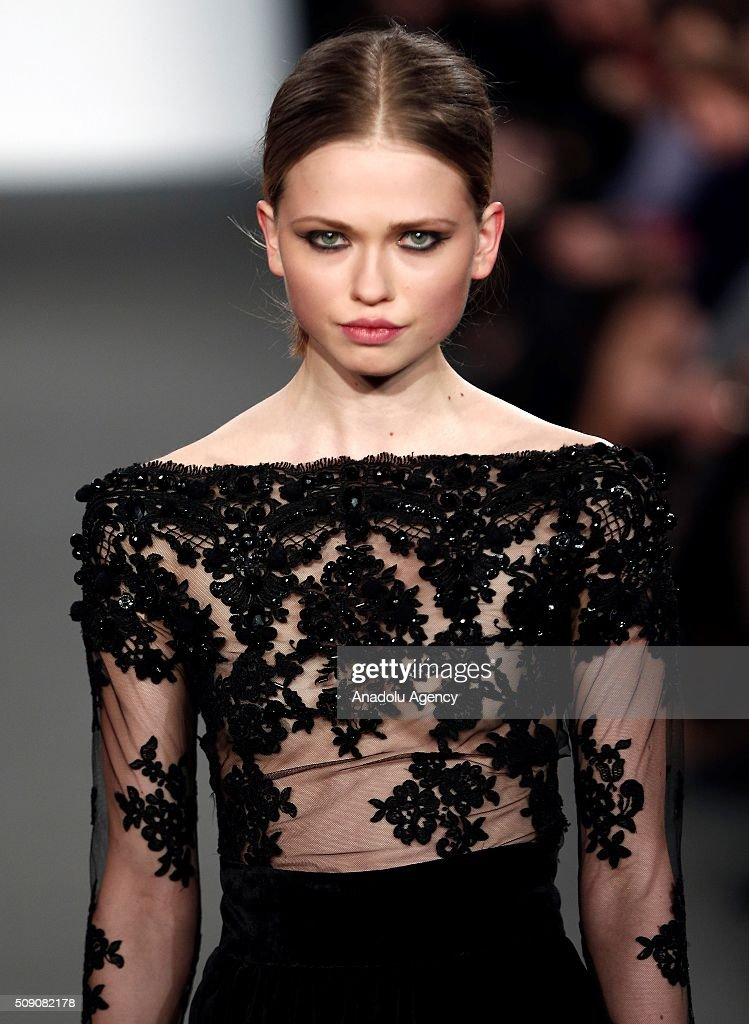 A Model presents Spring-Summer 2016 creation by Marcos Luengo, within the Madrid Fashion Week, in Madrid, Spain on February 08, 2016.