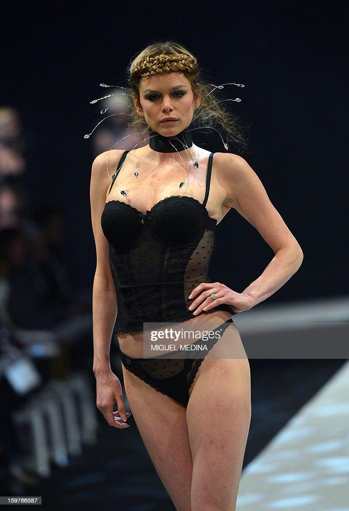 A model presents underwear garments during the Salon de la lingerie ( International Lingerie Fair) on January 20, 2013 in Paris.