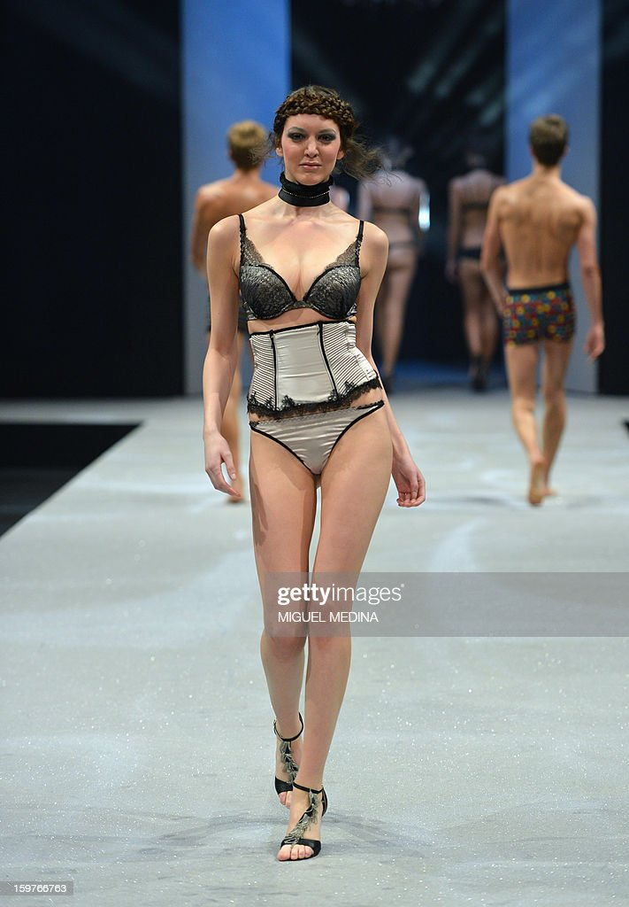 A model presents underwear garments during the Salon de la lingerie (International Lingerie Fair) on January 20, 2013 in Paris.