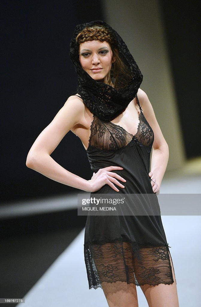 A model presents underwear garments during the Salon de la lingerie (International Lingerie Fair) on January 20, 2013 in Paris.