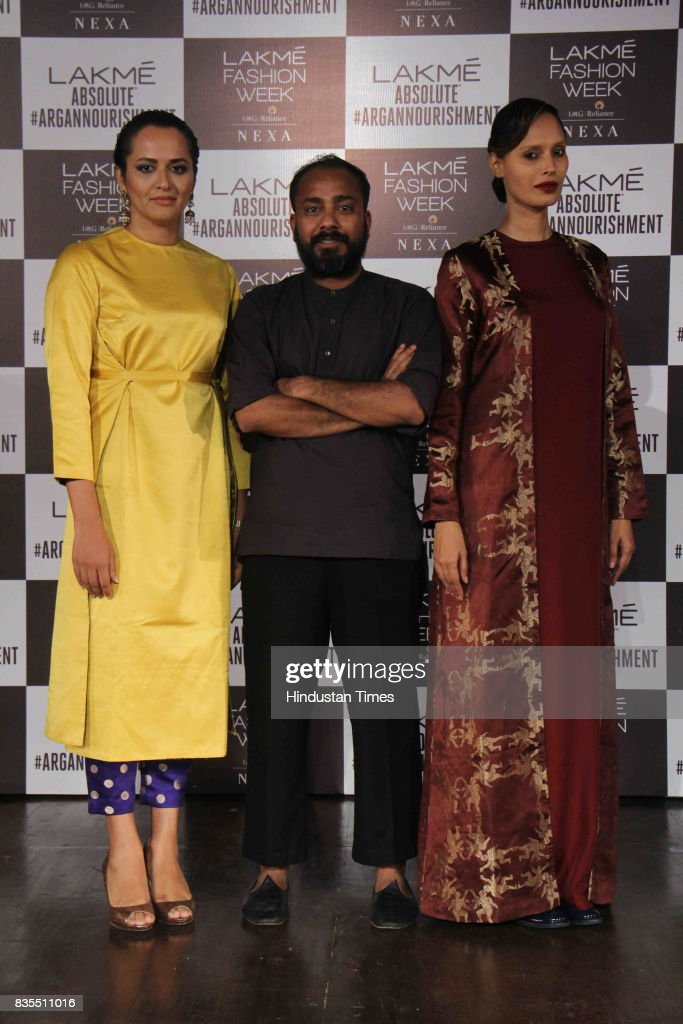 Model Purnima Lamba, Fashion Designer Sanjay Garg and model Ujjwala Raut during the closing show of the opening day of Lakme Fashion Week 2017, at Royal Opera House, on August 16, 2017 in Mumbai, India.