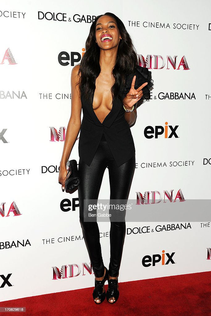 Model <a gi-track='captionPersonalityLinkClicked' href=/galleries/search?phrase=Quiana+Grant&family=editorial&specificpeople=855746 ng-click='$event.stopPropagation()'>Quiana Grant</a> attends the Dolce & Gabbana and The Cinema Society screening of the Epix World premiere of 'Madonna: The MDNA Tour' at The Paris Theatre on June 18, 2013 in New York City.