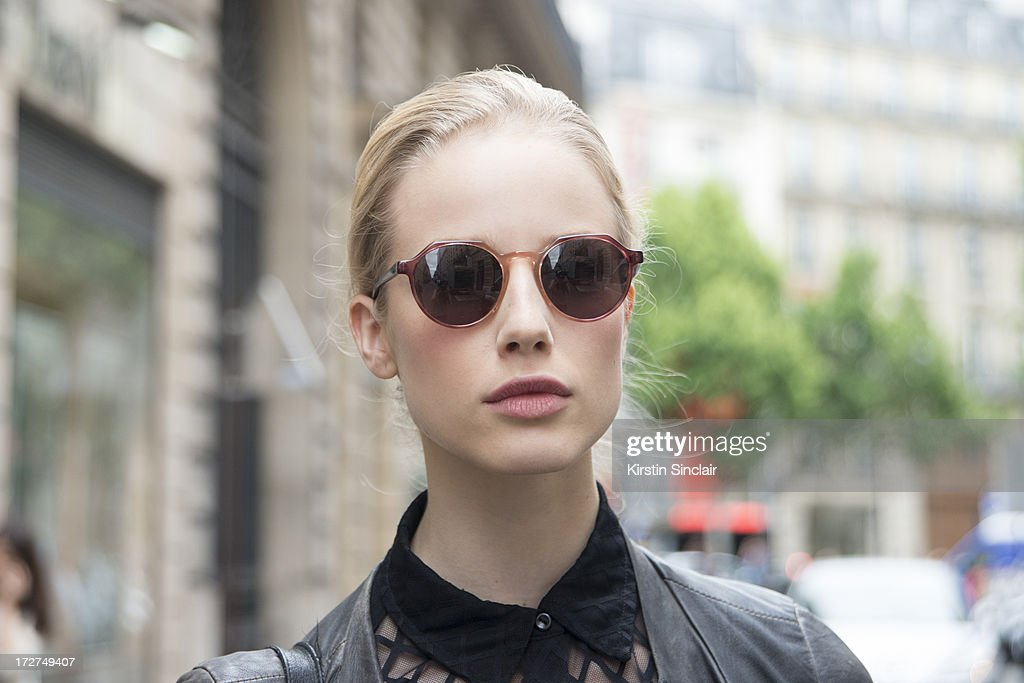 Model Quirine Engel wears a Zara jacket, American Apparel top and Vintage sunglasses on day 4 of Paris Collections: Womens Haute Couture on July 04, 2013 in Paris, France.