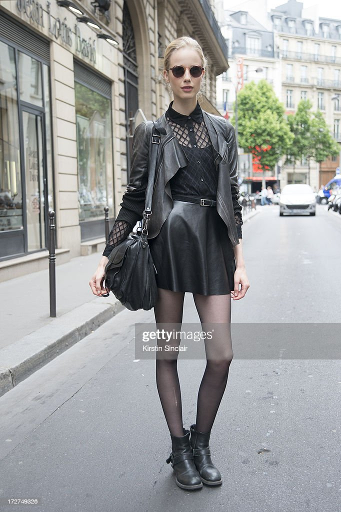 Model Quirine Engel wears a Zara jacket, American Apparel top, shirt and skirt, Proenza Schouler bag, Vintage sunglasses and belt on day 4 of Paris Collections: Womens Haute Couture on July 04, 2013 in Paris, France.