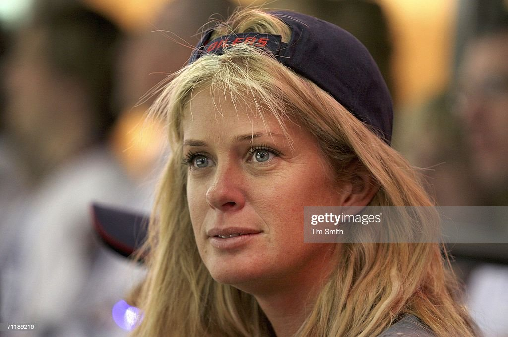 Model Rachel Hunter attends game four of the 2006 NHL Stanley Cup Finals between the Edmonton Oilers and the Carolina Hurricanes on June 12, 2006 at Rexall Place in Edmonton, Alberta, Canada.