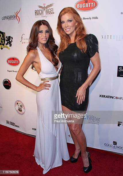 Model Rachel Sterling and Actress Angelica Bridges arrives at the Summer Solstice 2011 charity benefit at The Playboy Mansion on July 23 2011 in...