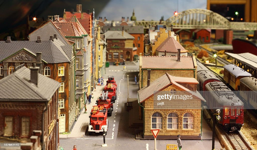 Model railroad layout with fire engines : Stock Photo