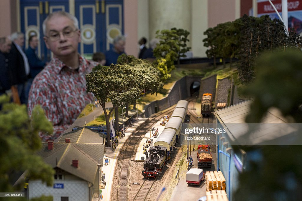 A model railway layout titled Salz IBB is on display at The London Festival of Railway modeling at Alexandra Palace on March 23, 2014 in London, England. The London Festival of Railway modeling will run from 22nd and 23rd March. The exhibition is London's leading railway modeling event, the weekend will see 40 working layouts is on display hand-picked by The Model Railway Club with over 100 traders, clubs and societies.