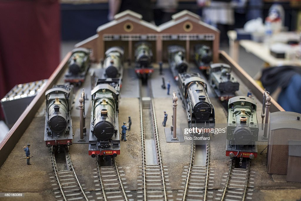 A model railway locomotive is on display at The London Festival of Railway modeling at Alexandra Palace on March 23, 2014 in London, England. The London Festival of Railway modeling will run from 22nd and 23rd March. The exhibition is London's leading railway modeling event, the weekend will see 40 working layouts is on display hand-picked by The Model Railway Club with over 100 traders, clubs and societies.