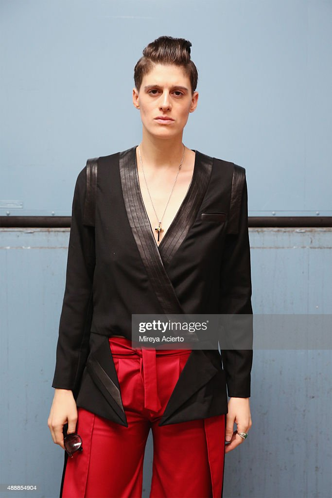 Model Rain Dove poses backstage at the Verge Queer New York fashion show during Spring 2016 New York Fashion Week at Brooklyn Museum on September 17...