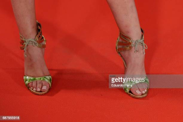 Model Raquel Tejedor shoes detail attends the 'El Jardin del Miguel Angel' party photocall at Miguel Angel hotel on May 24 2017 in Madrid Spain