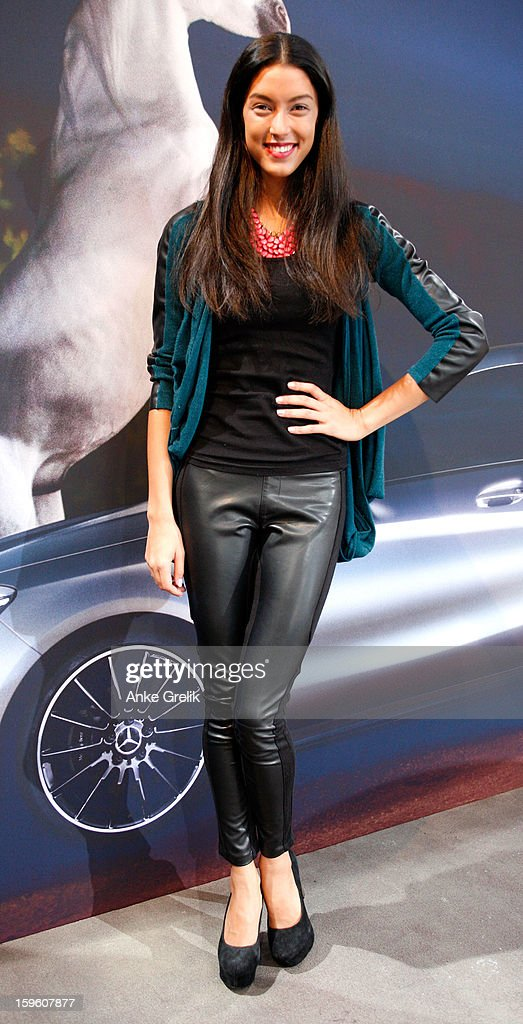 Model Rebecca Mir attends Mercedes-Benz Fashion Week Autumn/Winter 2013/14 at the Brandenburg Gate on January 17, 2013 in Berlin, Germany.