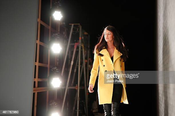 Model Rebecca Mir is seen backstage ahead of the Laurel show during the MercedesBenz Fashion Week Berlin Autumn/Winter 2015/16 at Brandenburg Gate on...