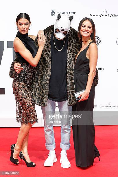 Model Rebecca Mir Rapper Cro and german actress Janina Uhse attend the 'Unsere Zeit ist jetzt' World Premiere at CineStar on September 27 2016 in...