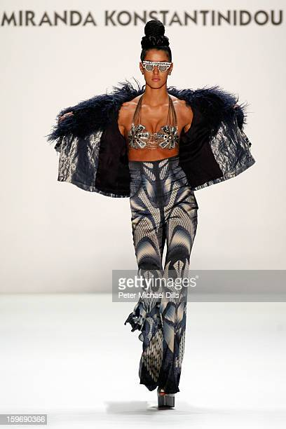 Model Rebecca Mir walks the runway at Miranda Konstantinidou Autumn/Winter 2013/14 fashion show during MercedesBenz Fashion Week Berlin at...