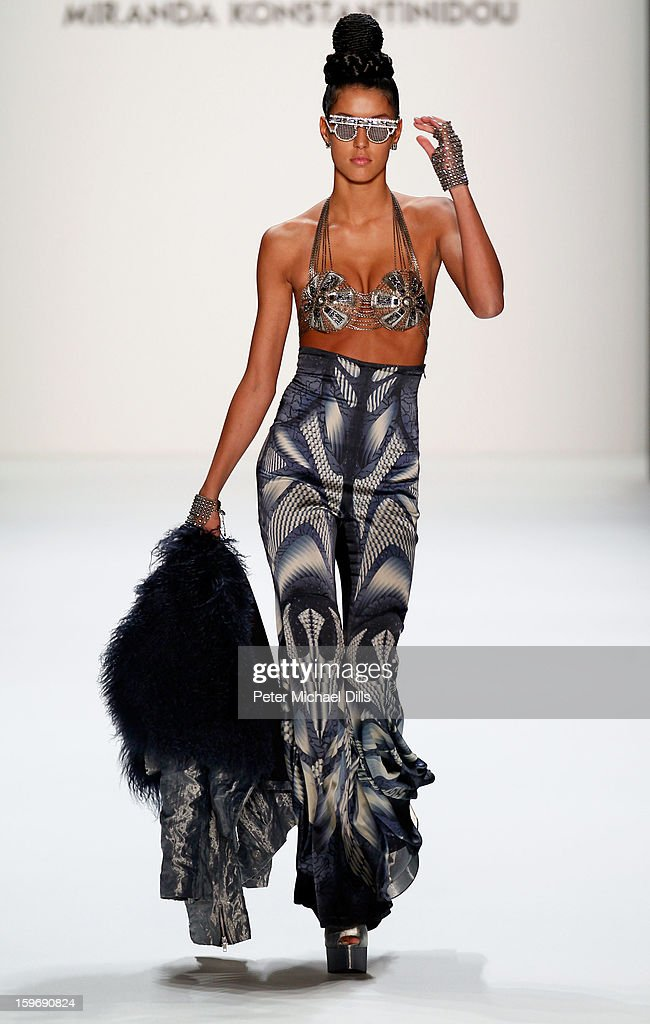 Model Rebecca Mir walks the runway at Miranda Konstantinidou Autumn/Winter 2013/14 fashion show during Mercedes-Benz Fashion Week Berlin at Brandenburg Gate on January 18, 2013 in Berlin, Germany.
