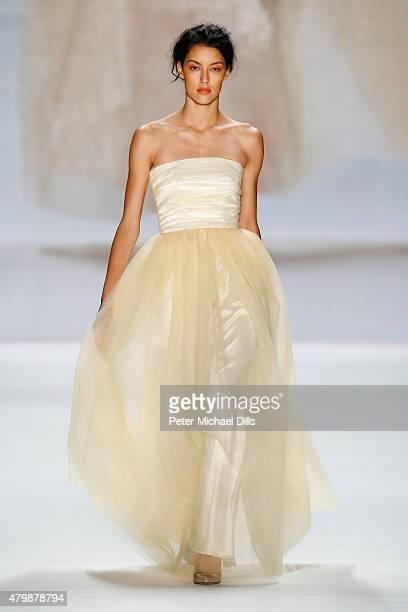 Model Rebecca Mir walks the runway at the Minx by Eva Lutz show during the MercedesBenz Fashion Week Berlin Spring/Summer 2016 at Brandenburg Gate on...