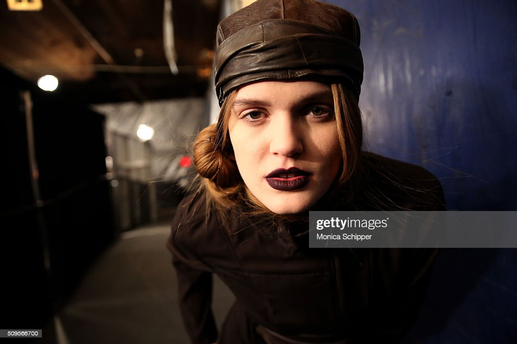 Model Rebekah Underhill prepares backstage at the Nicholas K Fall 2016 fashion show during New York Fashion Week: The Shows at The Dock, Skylight at Moynihan Station on February 11, 2016 in New York City.