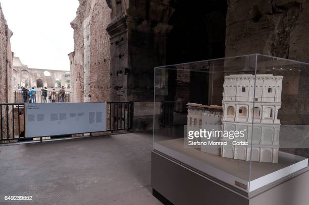 A model reconstructing the Frangipane fortress built in 1100 in the Colosseum during a press preview of the exhibition 'Colosseo un'icona' which...