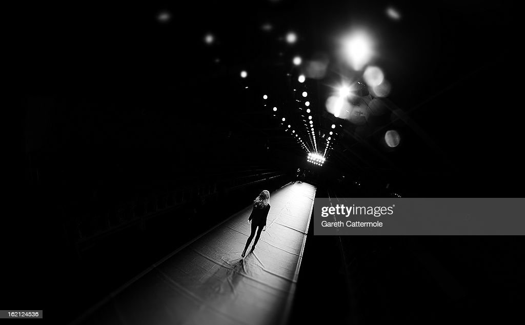 A model rehearse before the Emilio de la Morena show as part of London Fashion Week Fall/Winter 2013/14 on February 19, 2013 in London, England.