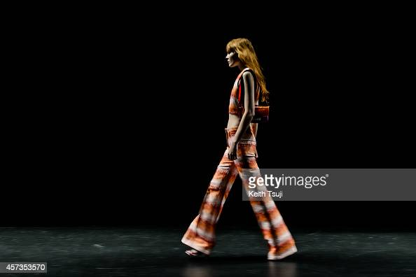A model rehearses ahead of the House of Holland show as part of Mercedes Benz Fashion Week TOKYO 2015 S/S at Shibuya Hikarie on October 17 2014 in...