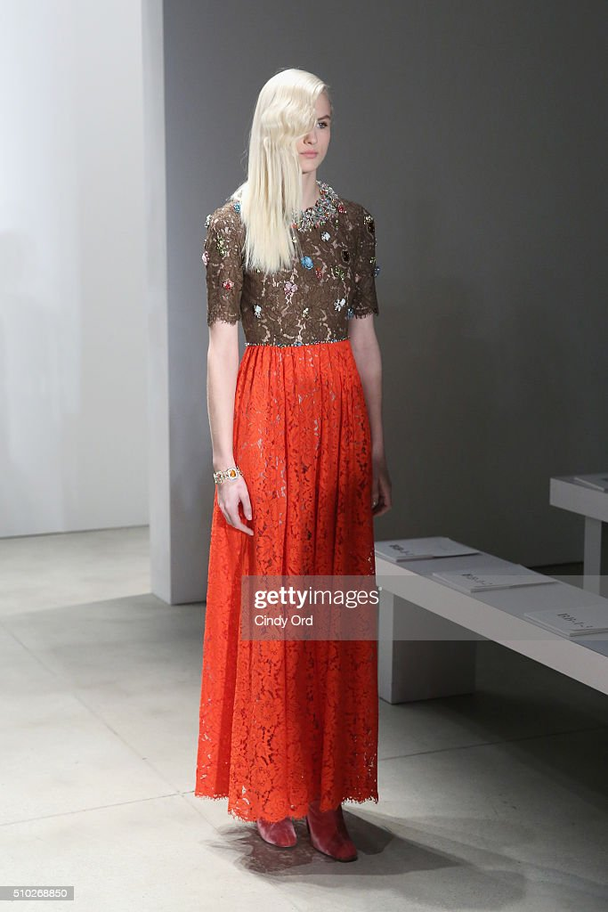 A model rehearses at the Jenny Packham Fall 2016 fashion show during New York Fashion Week: The Shows at The Gallery, Skylight at Clarkson Sq on February 14, 2016 in New York City.