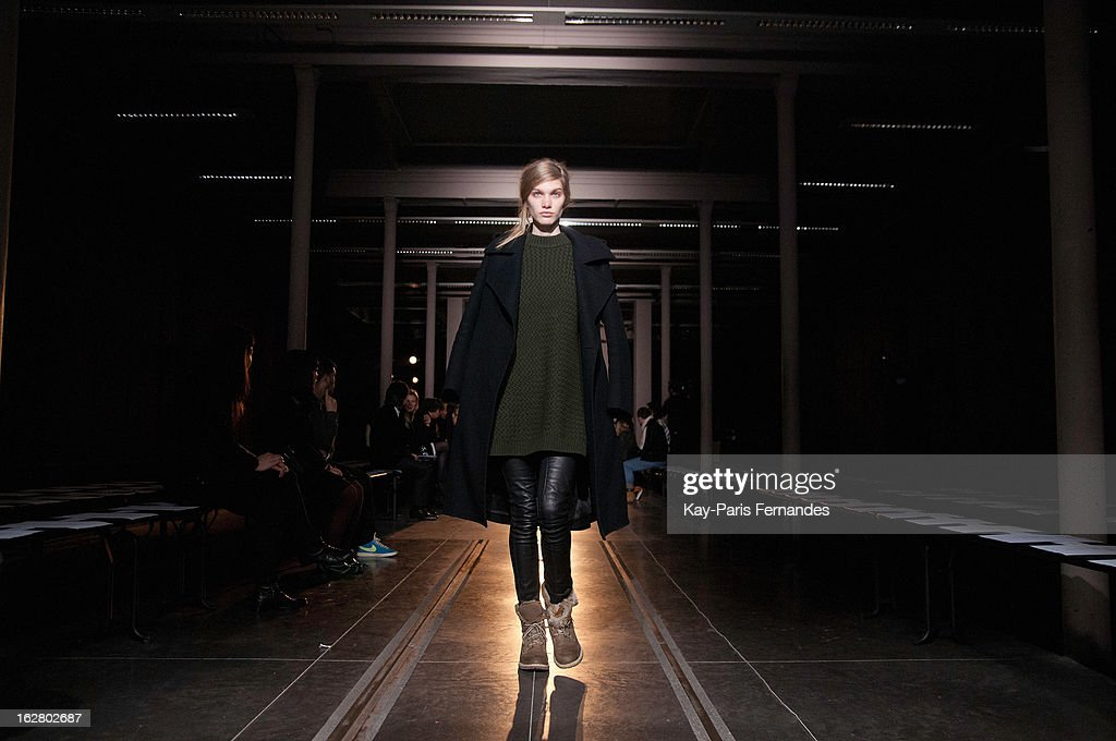A model rehearses before the Rue Du Mail Fall/Winter 2013 Ready-to-Wear show as part of Paris Fashion Week on February 27, 2013 in Paris, France.