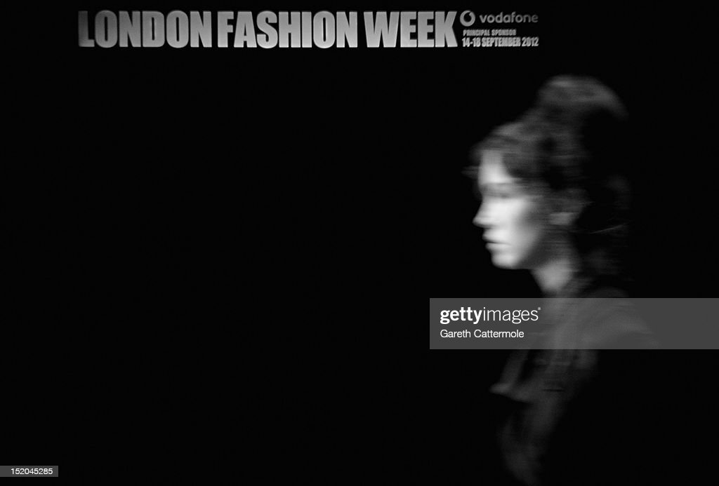 A model rehearses during London Fashion Week Spring/Summer 2013, on September 14, 2012 in London, England.