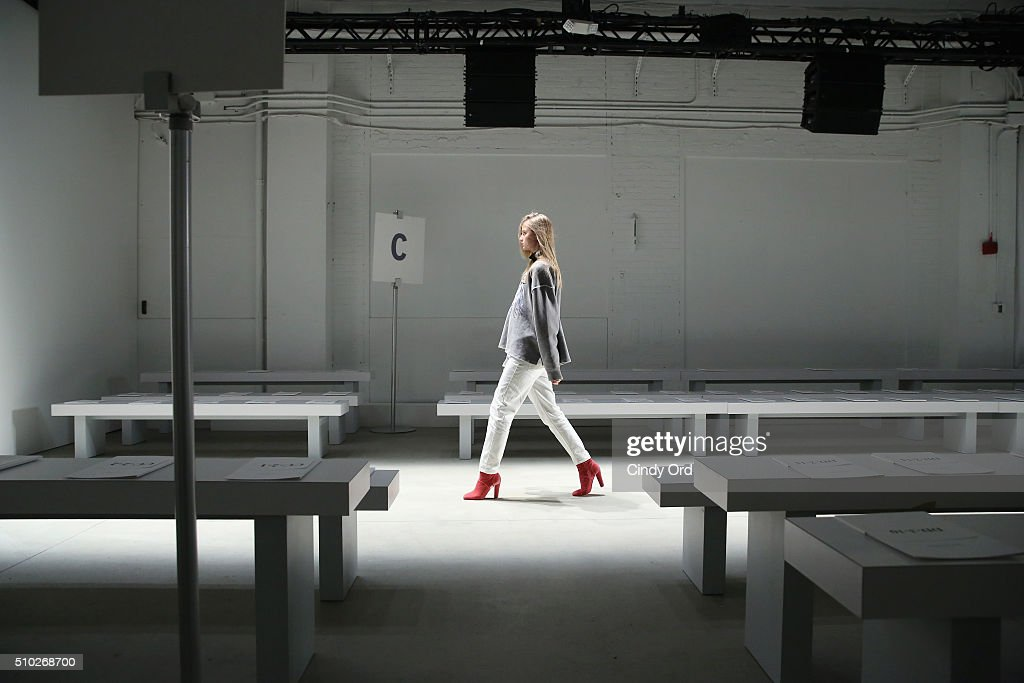 A model rehearses her runway walk at the Jenny Packham Fall 2016 fashion show during New York Fashion Week: The Shows at The Gallery, Skylight at Clarkson Sq on February 14, 2016 in New York City.