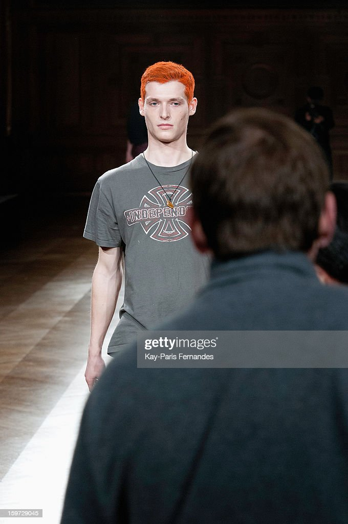 A model rehearses on the runway before the Songzio Men Autumn / Winter 2013 show as part of Paris Fashion Week on January 19, 2013 in Paris, France.