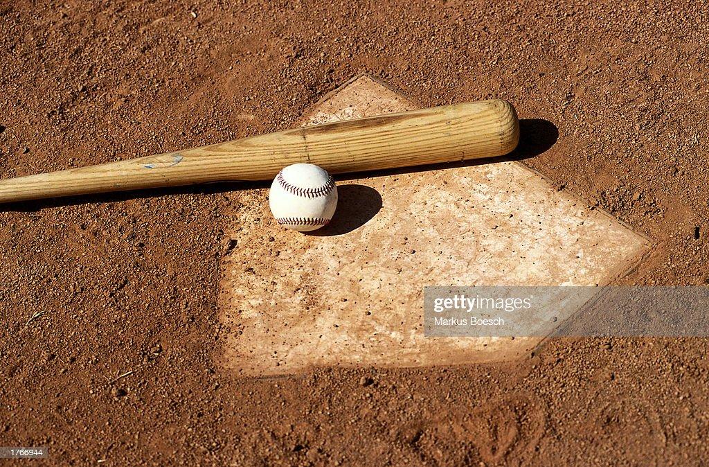Baseball bat and ball on base plate