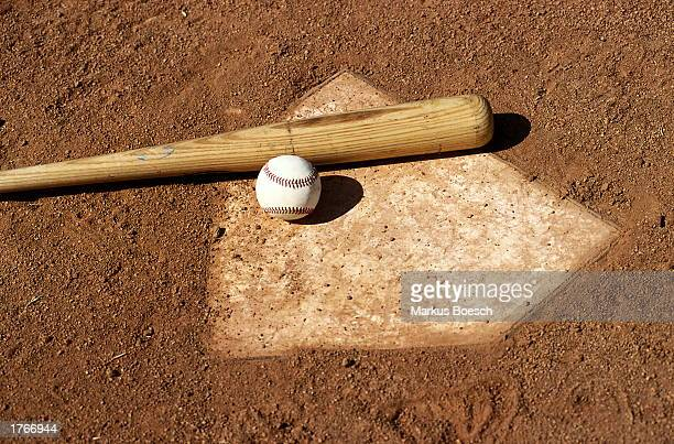 Baseball bat and ball on base plate