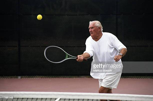 Mature male tennis player