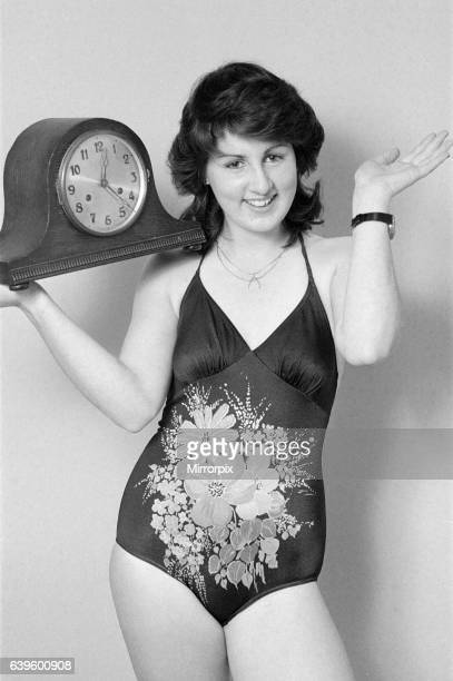 Model reminding people to put their clocks forward by one hour at the start of British Summer Time 27th March 1982