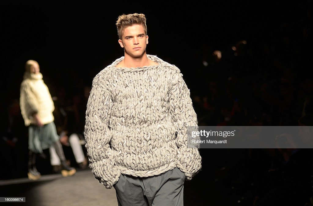 Model River Viiperi walks the runway during the Miriam Ponsa fashion show as part of the 080 Barcelona Fashion Week Autumn/Winter 2013-2014 on January 30, 2013 in Barcelona, Spain.
