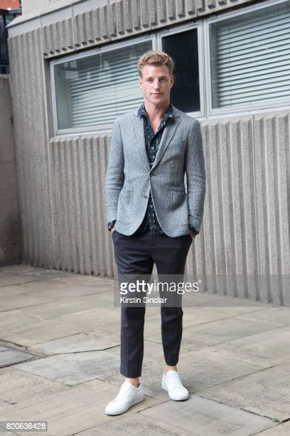 Model Roger Frampton wears Richard James jacket and everything else Top Man on day 1 of London Collections Men on June 9 2017 in Paris France