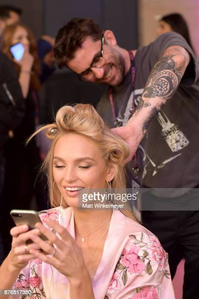 Model Romee Strijd and Lead Hairstylist Anthony Turner during 2017 Victoria's Secret Fashion Show In Shanghai at MercedesBenz Arena on November 20...