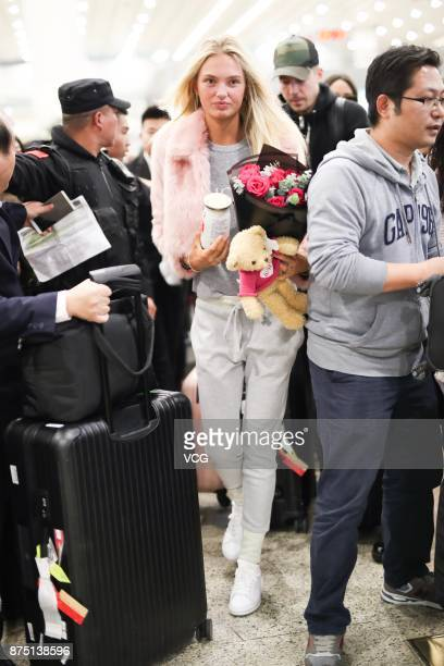 Model Romee Strijd arrives at the airport on November 16 2017 in Shanghai China