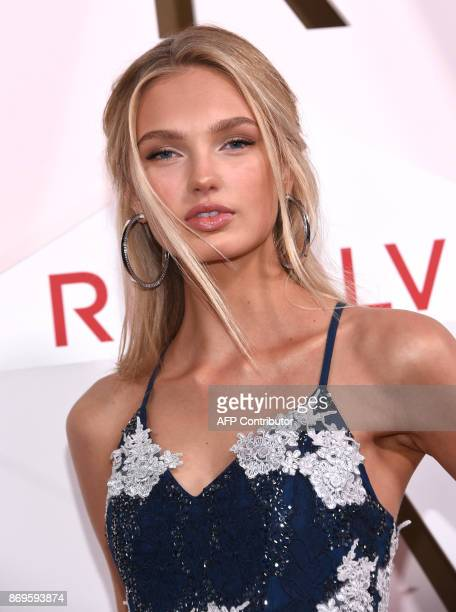 Model Romee Strijd attends the first annual #REVOLVEawards at the Dream Hotel in Hollywood on November 2 2017 / AFP PHOTO / CHRIS DELMAS