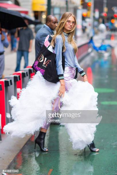 Model Romee Strijd is seen going to fittings for the 2017 Victoria's Secret Fashion Show in Midtown on August 29 2017 in New York City
