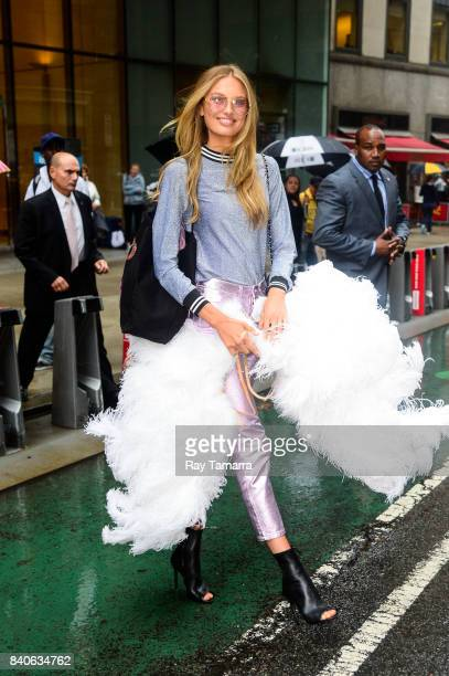 Model Romee Strijd leaves an office building in Midtown Manhattan on August 29 2017 in New York City