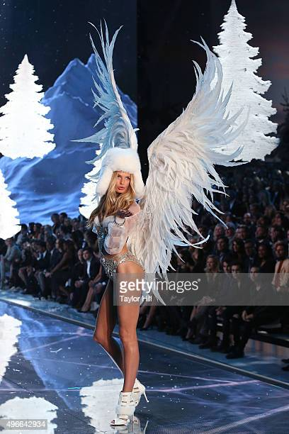 Model Romee Strijd walks the runway during the 2015 Victoria's Secret Fashion Show at Lexington Avenue Armory on November 10 2015 in New York City
