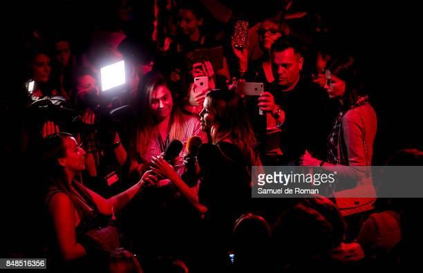 Model Rosanna Zanetti is interviewed during MercedesBenz Fashion Week Madrid Spring/Summer 2018 on September 17 2017 in Madrid Spain