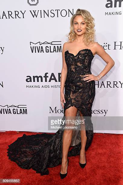 Model Rose Bertram attends 2016 amfAR New York Gala at Cipriani Wall Street on February 10 2016 in New York City