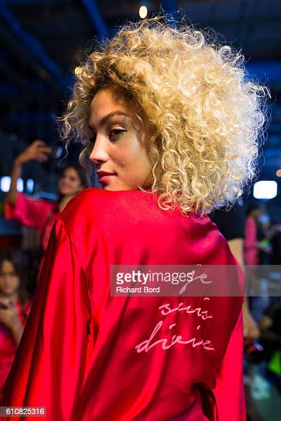 Model Rose Bertram poses backstage prior the Etam show as part of the Paris Fashion Week Womenswear Spring/Summer 2017 at Centre Georges Pompidou on...
