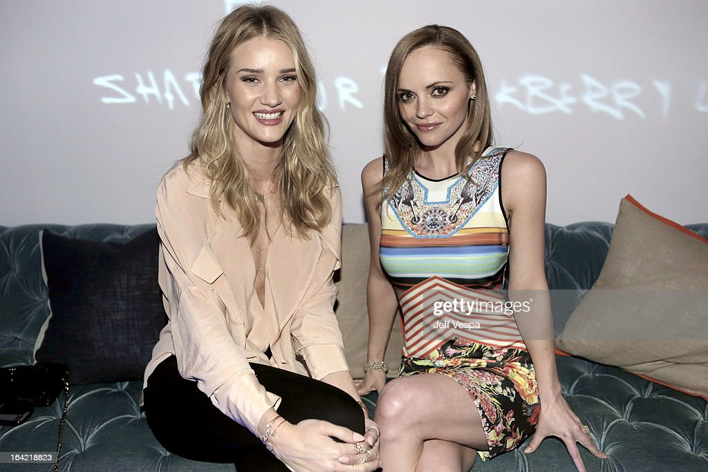 Model Rose HuntingtonWhiteley and actress Christina Ricci attend a celebration of the BlackBerry Z10 Smartphone launch at Cecconi's Restaurant on...