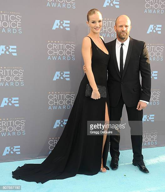 Model Rosie HuntingtonWhiteley and actor Jason Statham arrive at the 21st Annual Critics' Choice Awards at Barker Hangar on January 17 2016 in Santa...