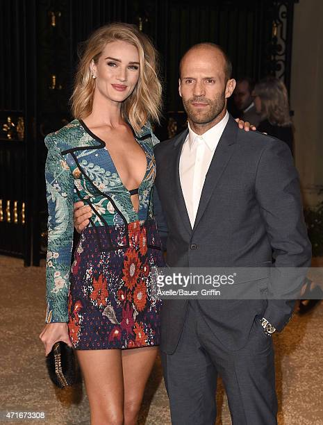 Model Rosie HuntingtonWhiteley and actor Jason Statham attend the Burberry 'London in Los Angeles' event at Griffith Observatory on April 16 2015 in...